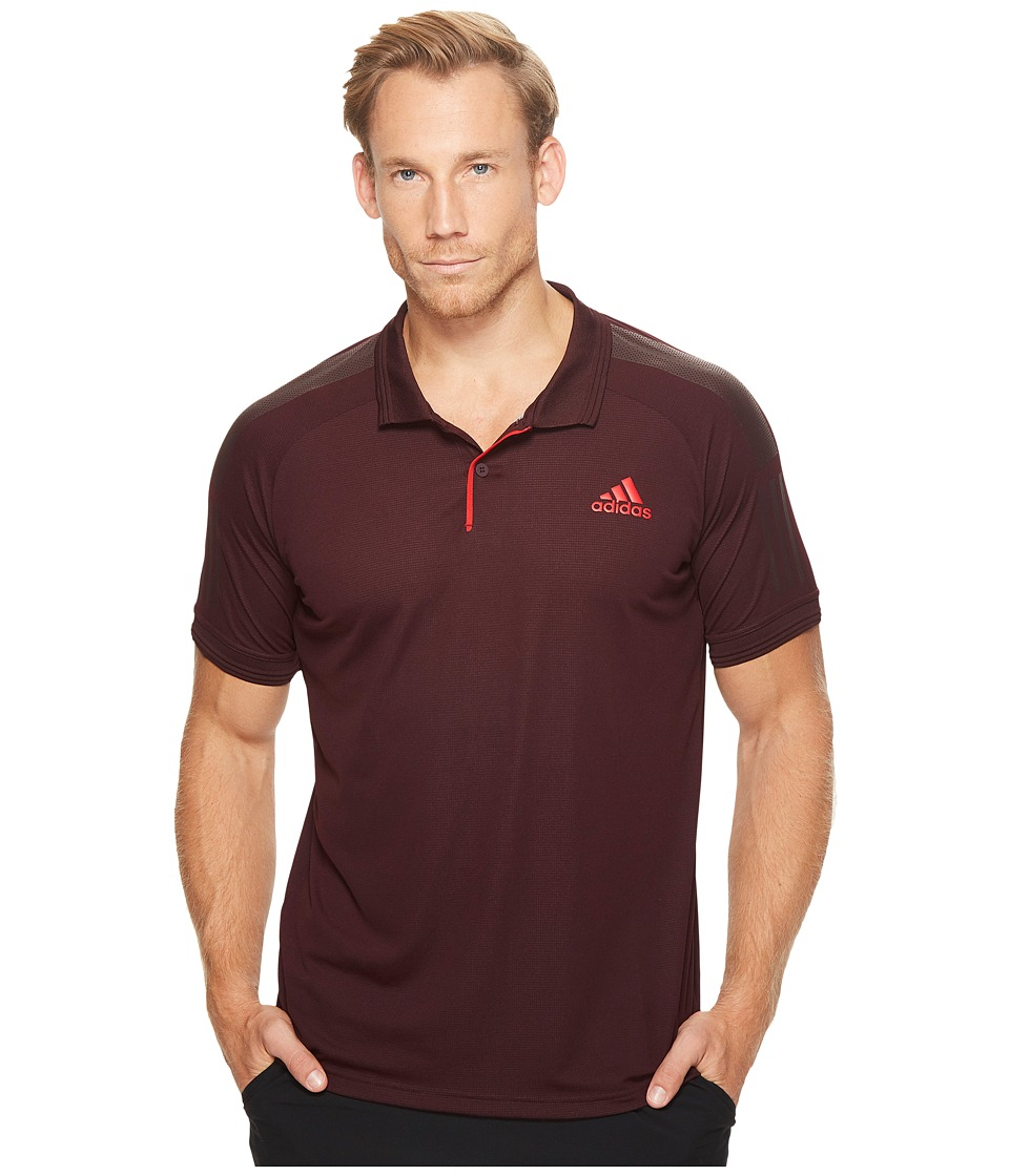 adidas - Barricade Polo (Dark Burgundy/Scarlet) Men's Short Sleeve Pullover