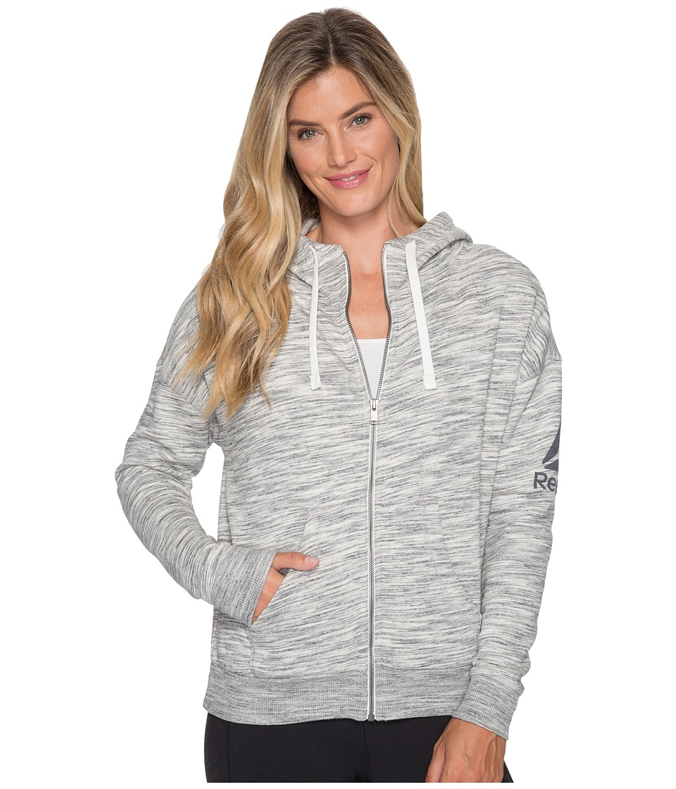Reebok - El Marble Brushed Back Full Zip (Chalk) Women's Workout