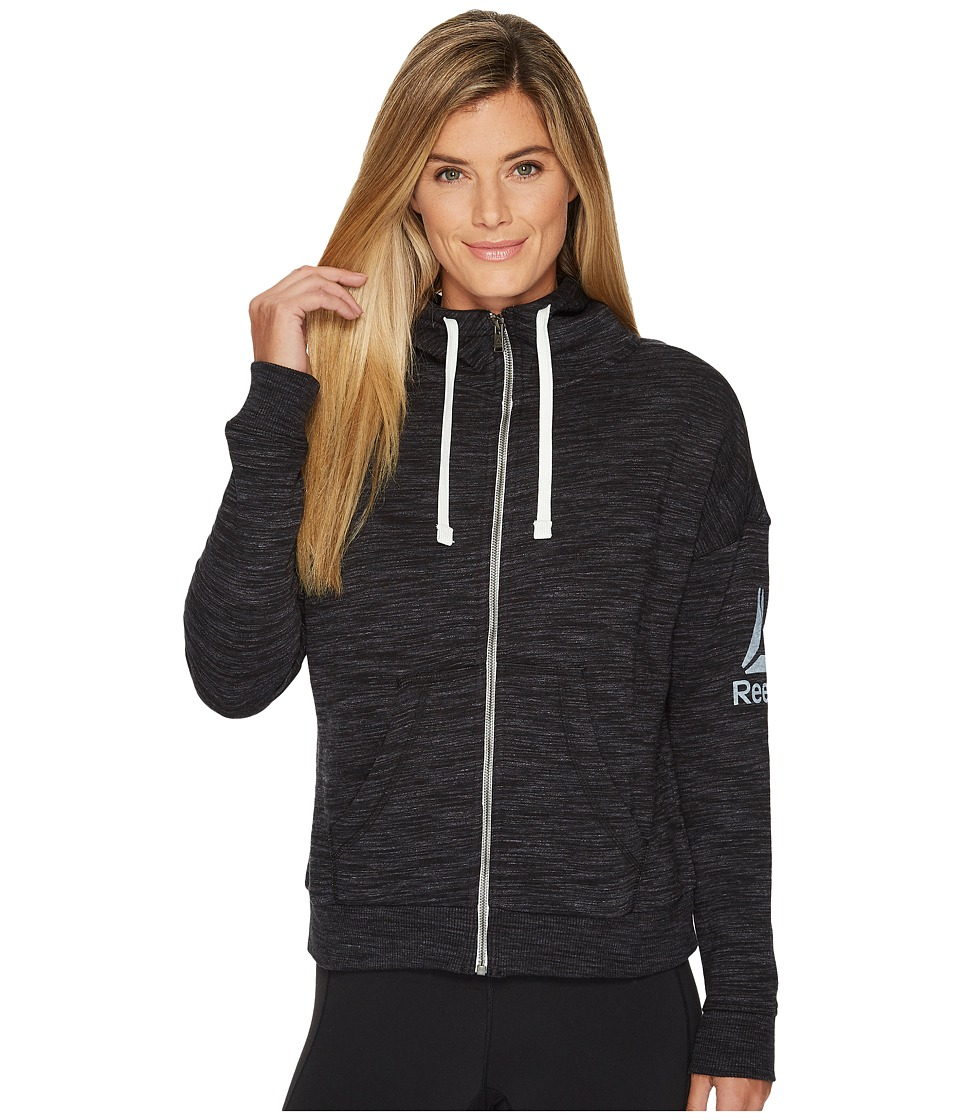 Reebok - El Marble Brushed Back Full Zip (Black) Women's Workout