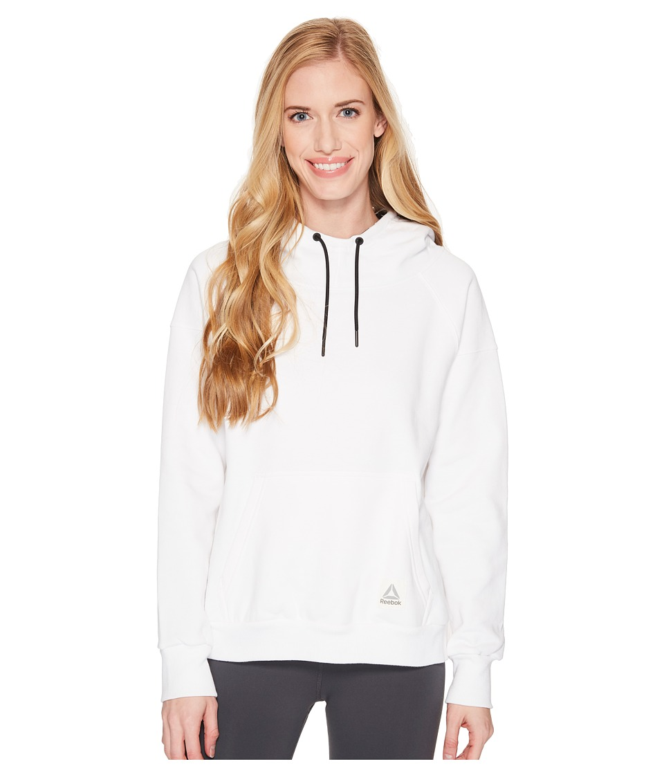 Reebok Workout Ready Cotton Series Over The Head Hoodie (White) Women