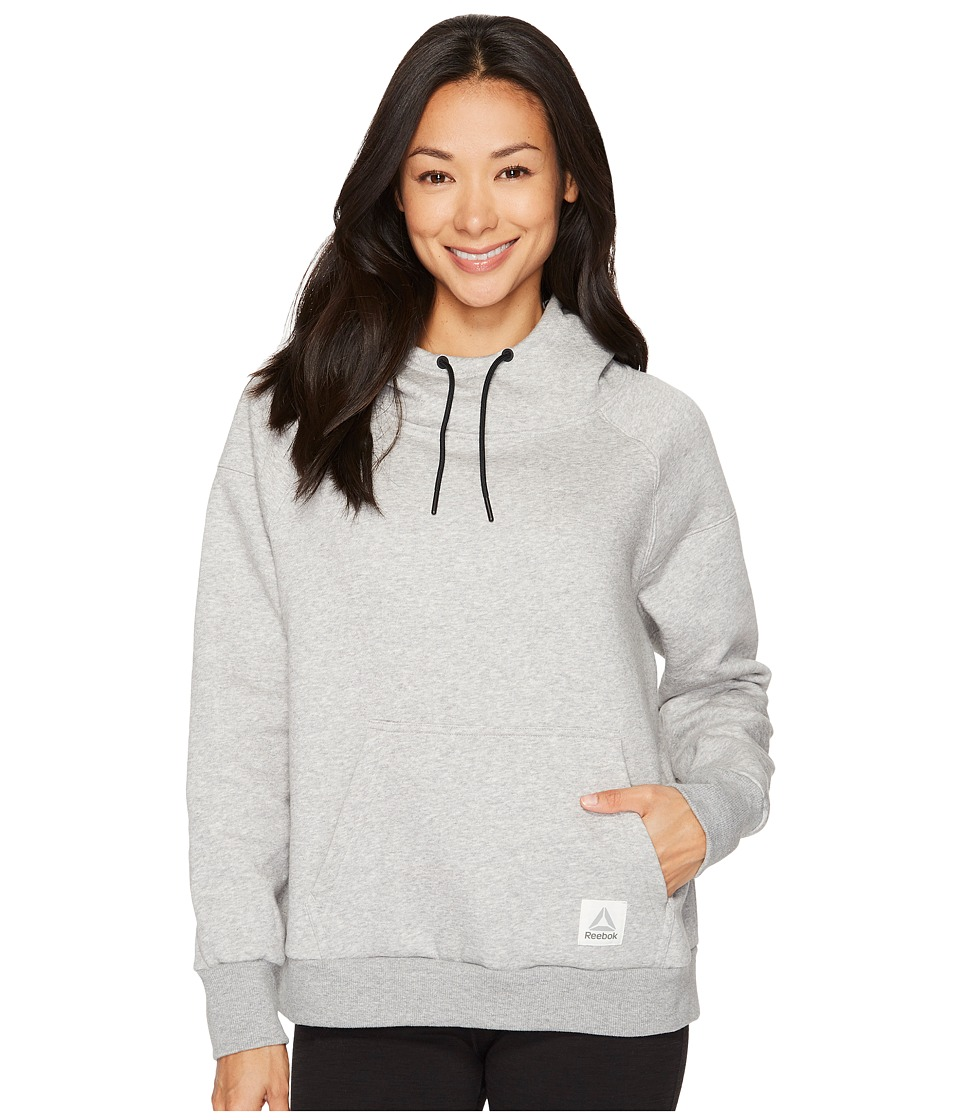 Reebok Workout Ready Cotton Series Over The Head Hoodie (Medium Grey Heather) Women
