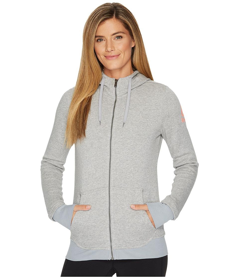 Reebok - Fleece Full Zip Hoodie (Medium Heather Grey) Women's Workout