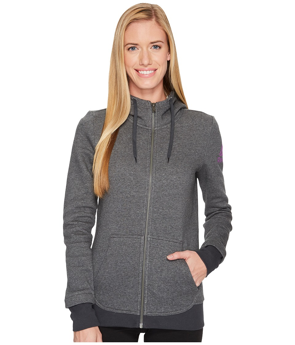 Reebok - Fleece Full Zip Hoodie (Dark Heather Grey) Women's Workout
