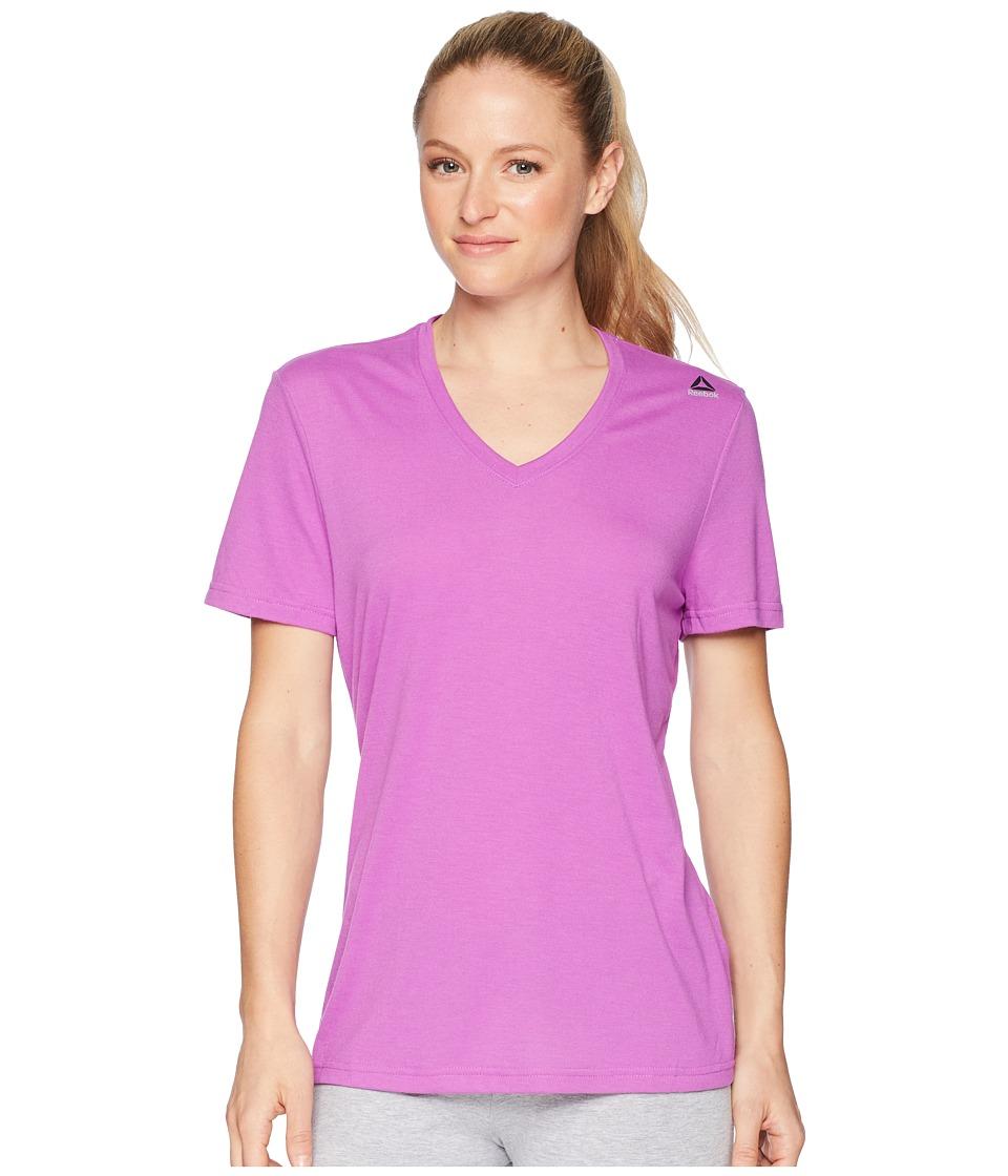 Reebok - Supremium V-Neck Tee (Vicious Violet) Women's T Shirt