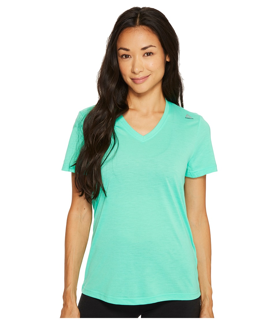 Reebok - Supremium V-Neck Tee (Bright Emerald) Women's T Shirt