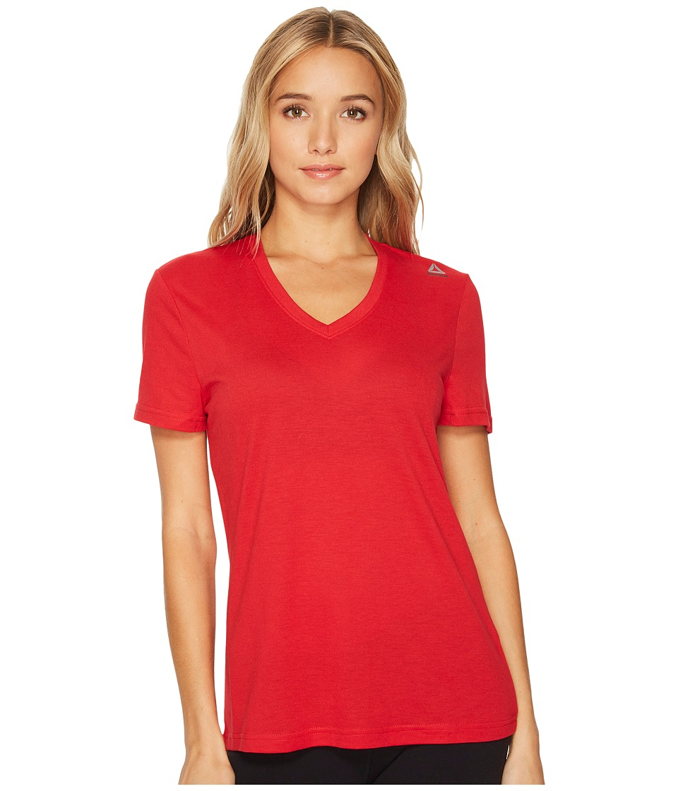 Reebok - Supremium V-Neck Tee (Excellent Red) Women's T Shirt