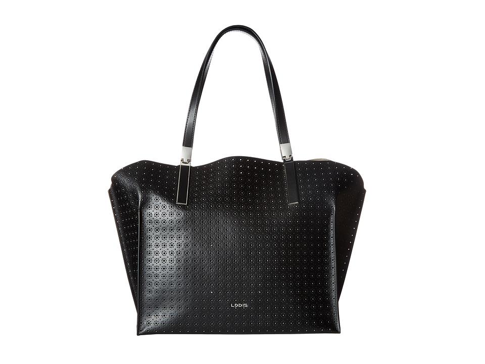 Lodis Accessories - Blair Perf Anita East/West Multi Functional Satchel (Black/Taupe) Satchel Handbags