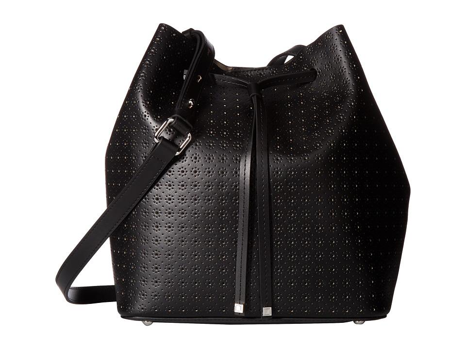 Lodis Accessories - Blair Perf Gail Medium Drawstring (Black/Taupe) Drawstring Handbags