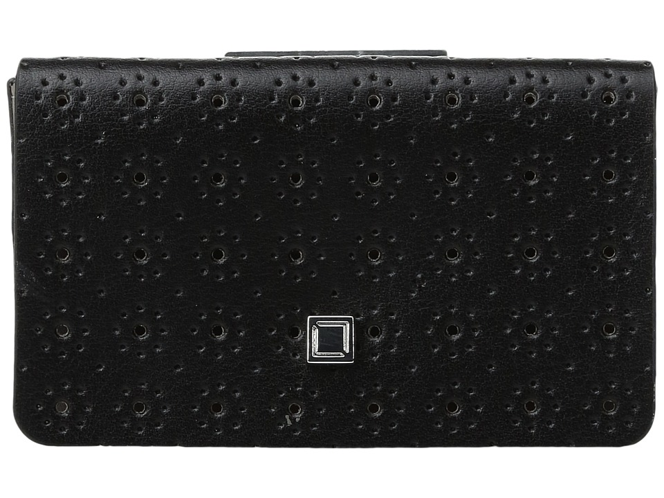 Lodis Accessories - Blair Perf Mini Card Case (Black/Taupe) Credit card Wallet