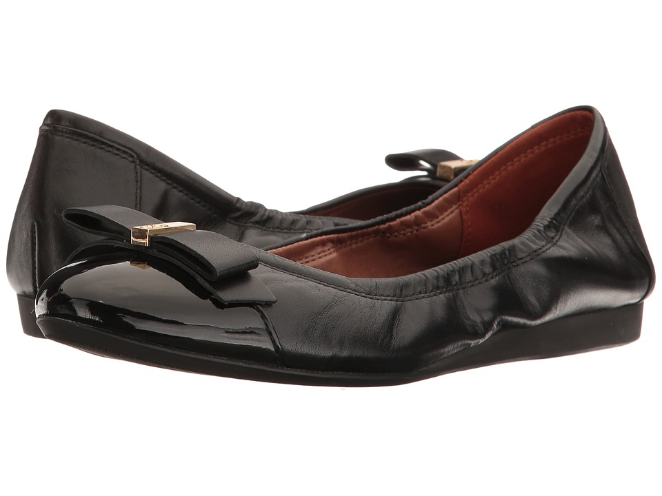 Cole Haan - Elsie Ballet II (Black/Black Patent) Women's Slip on Shoes