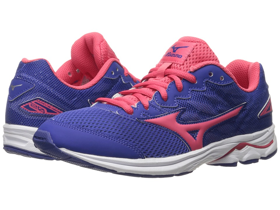 Mizuno - Wave Rider 20 Jr (Little Kid/Big Kid) (Deep Ultramarine/Paradise Pink/White) Women's Running Shoes