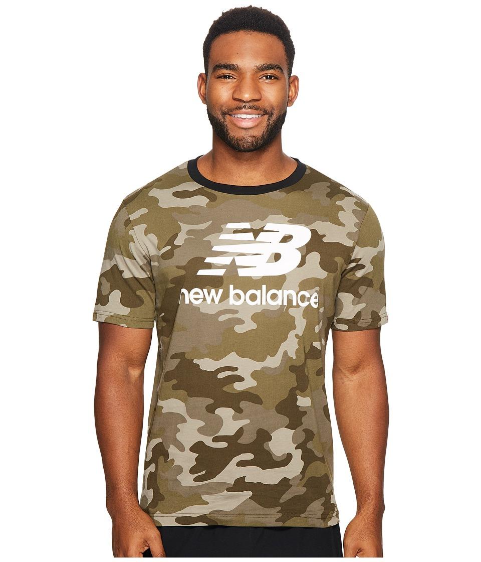 New Balance - Essentials Stacked Logo Tee (Universal Cam Print) Men's T Shirt