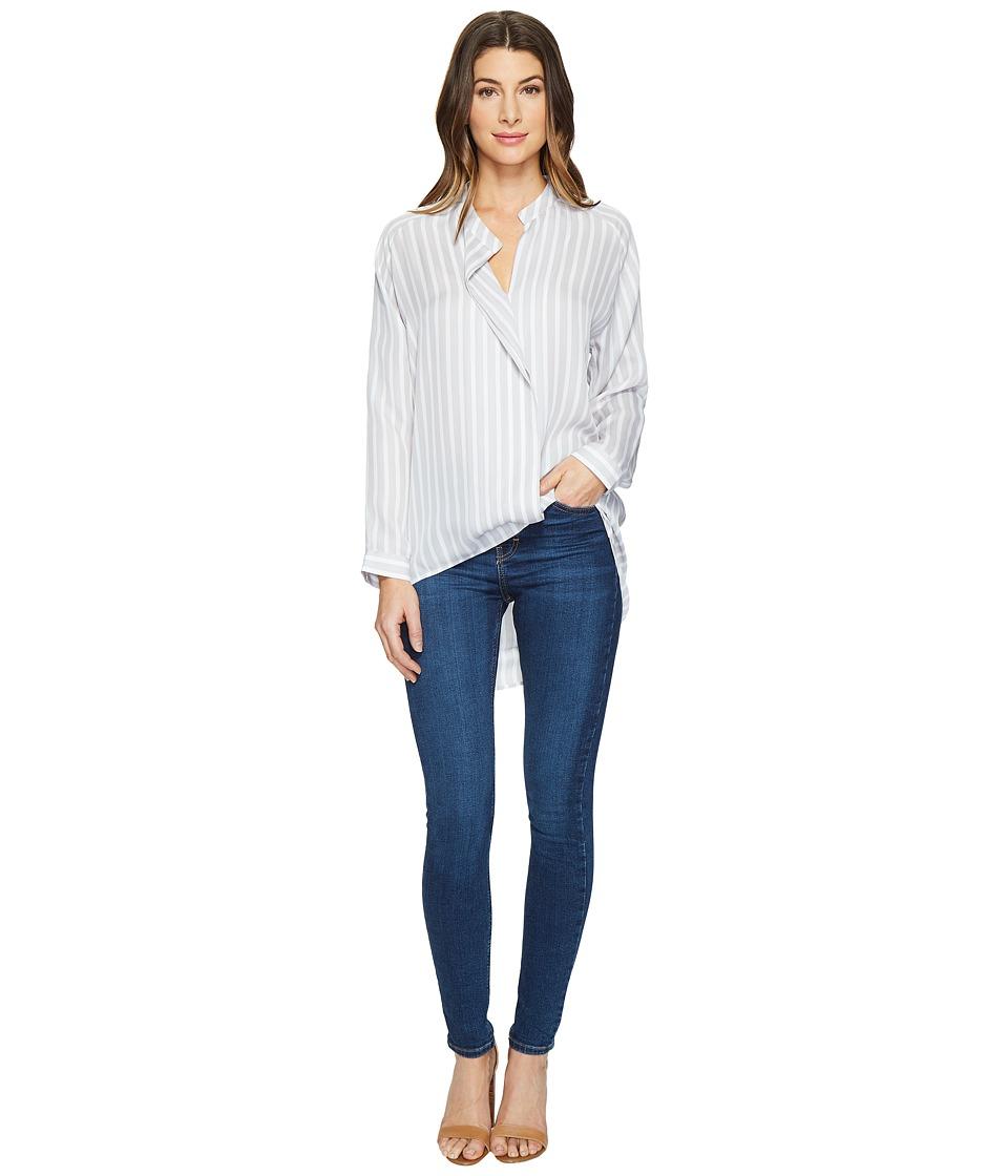 HEATHER - Long Sleeve Silk Collared Blouse (Nimbus Stripe) Women's Clothing