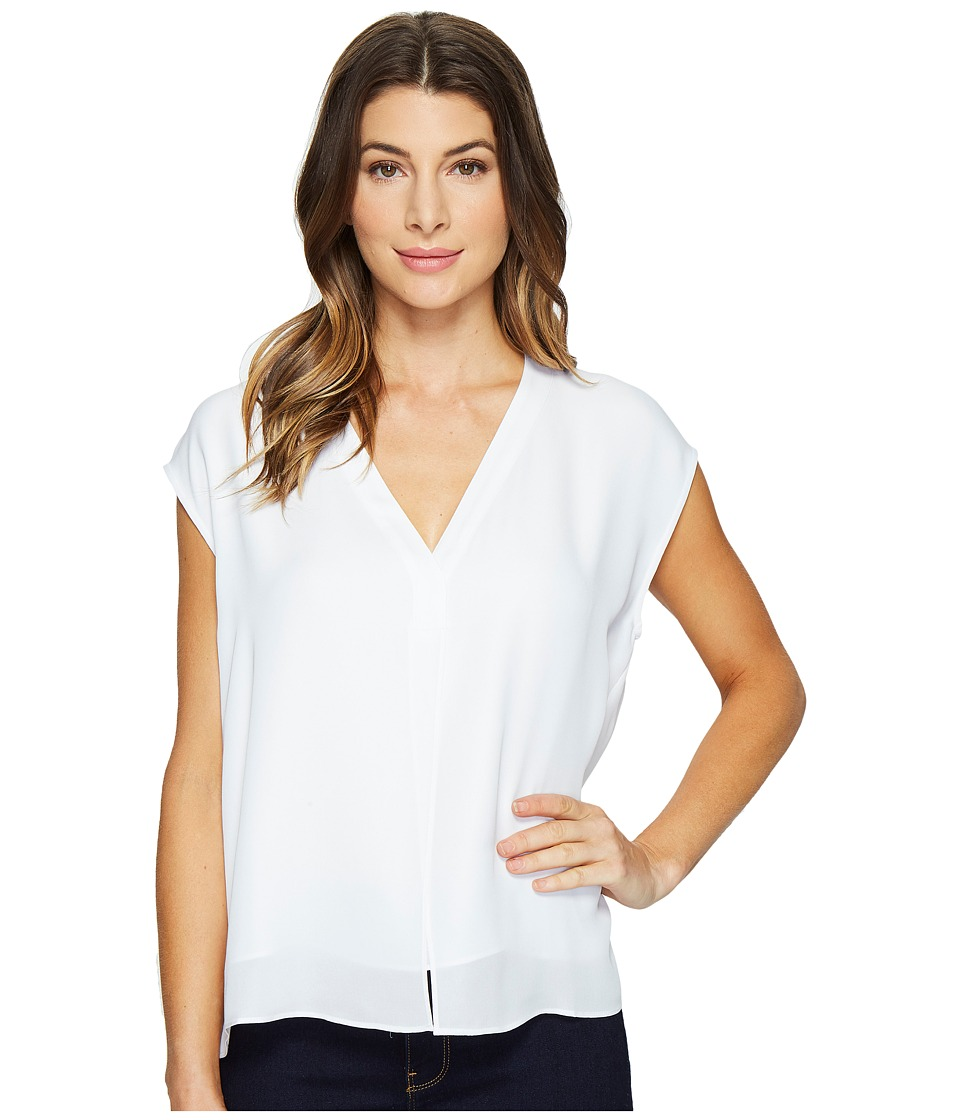 HEATHER - Silk Boxy V-Neck Placket Blouse (White) Women's Blouse