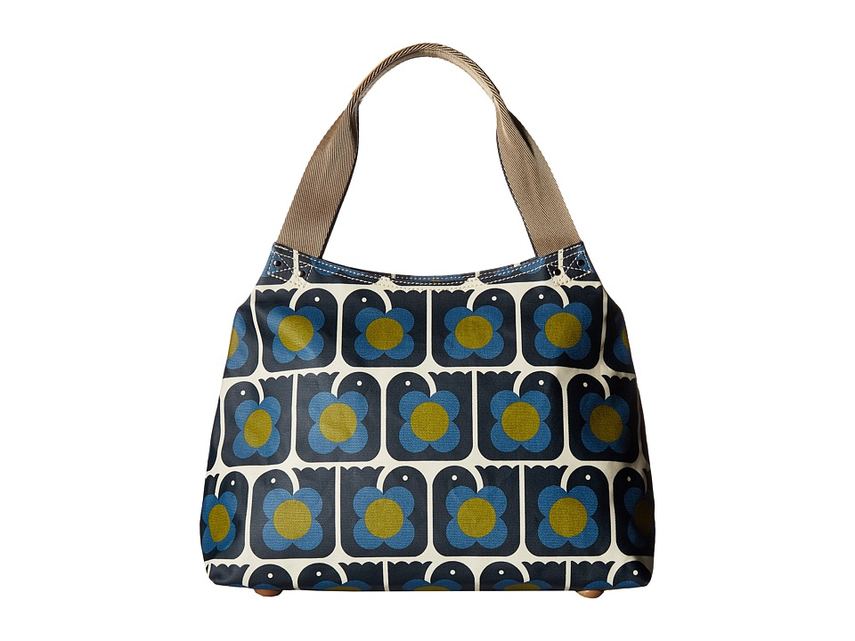 Orla Kiely - Love Birds Print Classic Zip Shoulder Bag (Navy) Shoulder Handbags