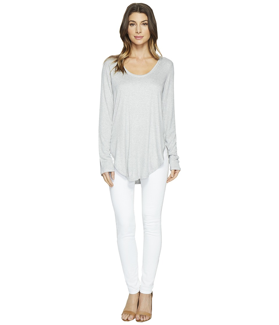 HEATHER - Long Sleeve Scoop Neck Top (Light Heather Grey) Women's Clothing