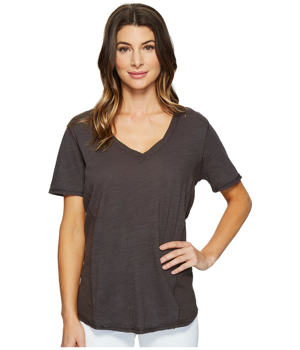 HEATHER - Cotton Gauze V-Neck Tee (Inkwell) Women's T Shirt