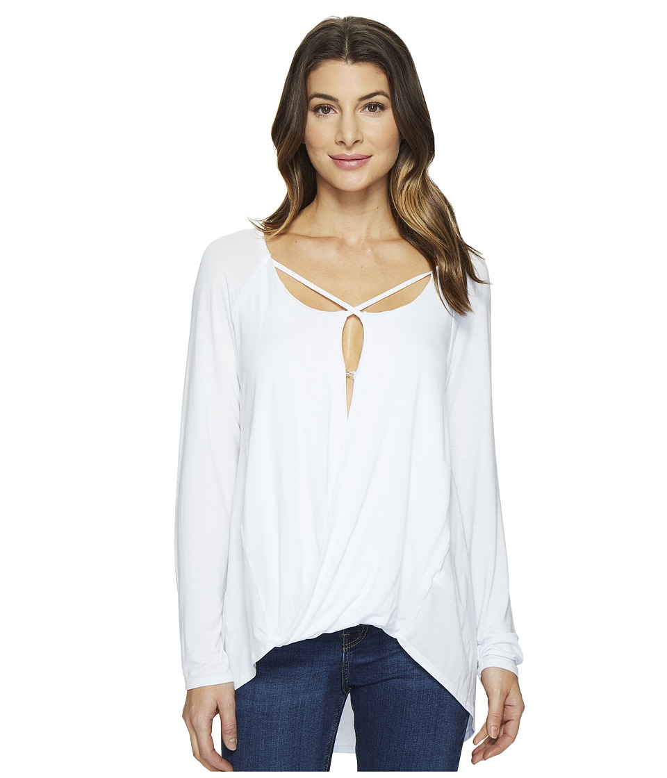 HEATHER - Long Sleeve Crisscross Top (White) Women's Clothing