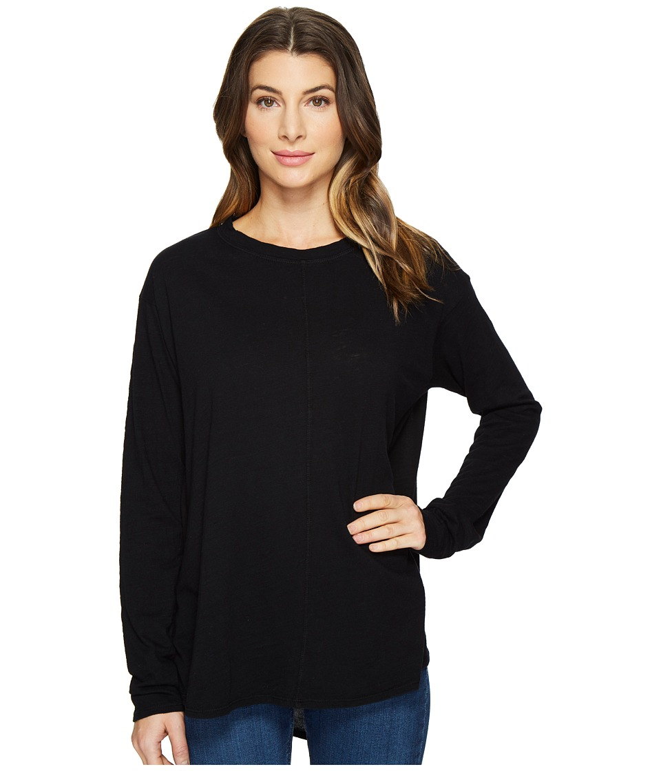 HEATHER - Cotton Gauze Back Long Sleeve Top (Black) Women's Clothing