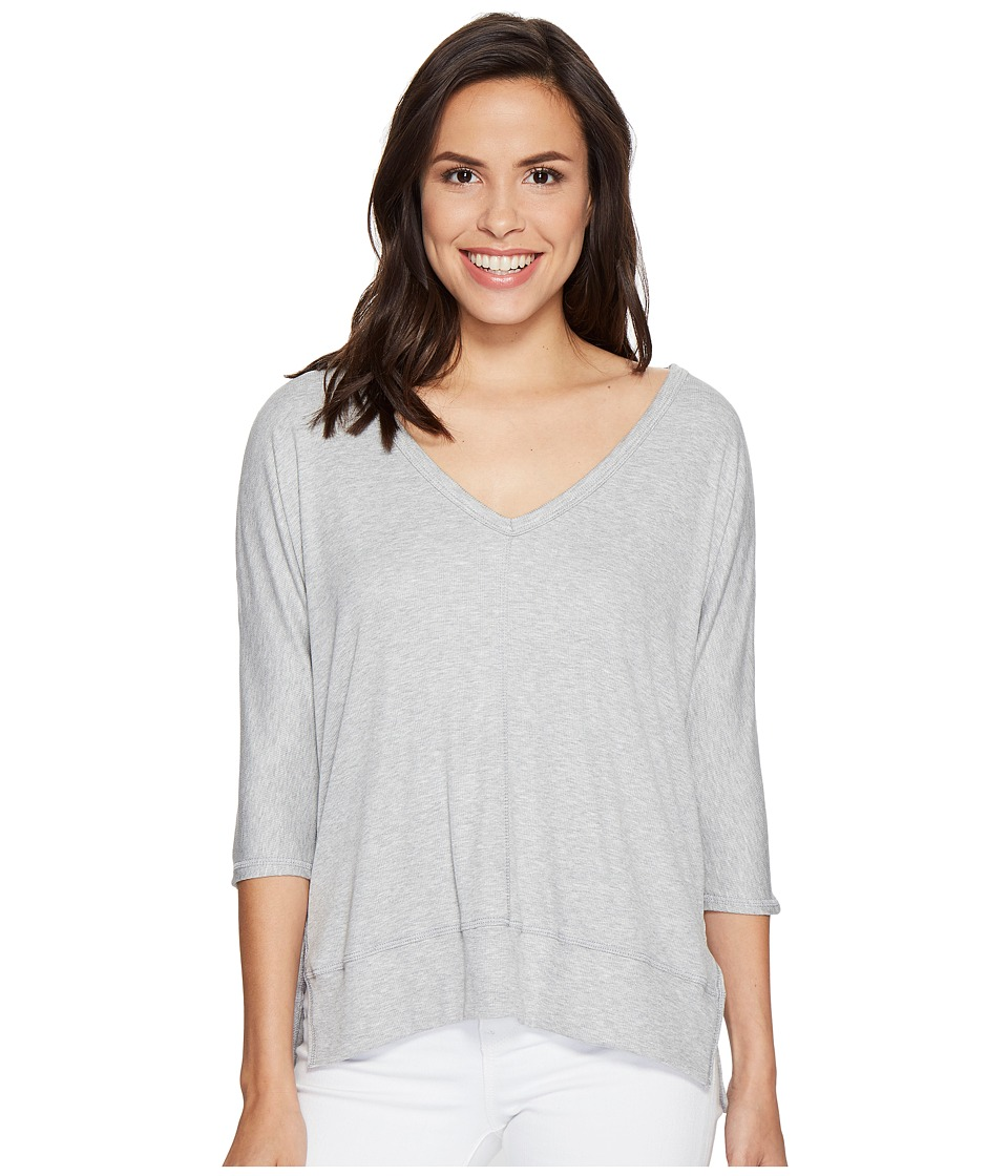 HEATHER - Cold Shoulder V-Neck Top (Light Heather Grey) Women's Clothing