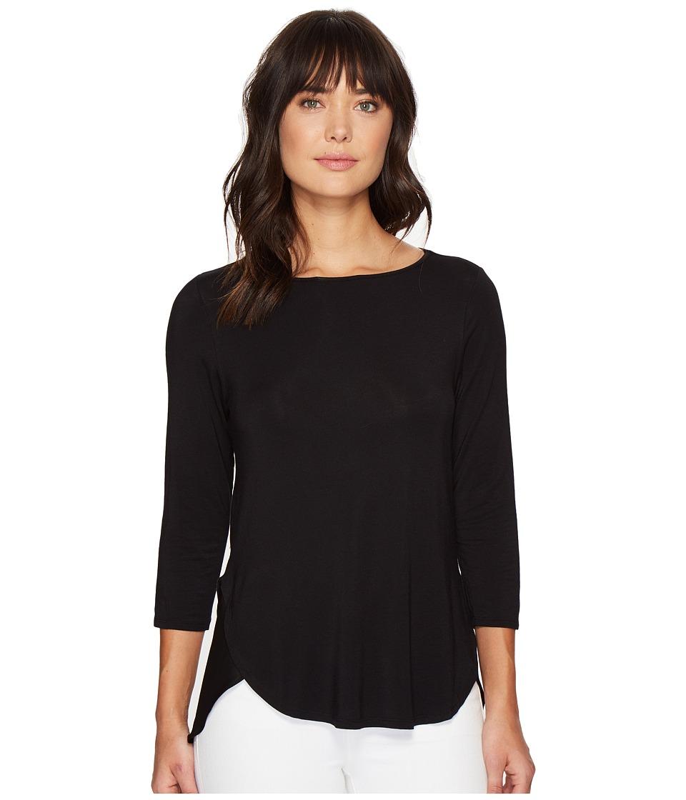 HEATHER - Silk Flutter Hem Top (Black) Women's Clothing