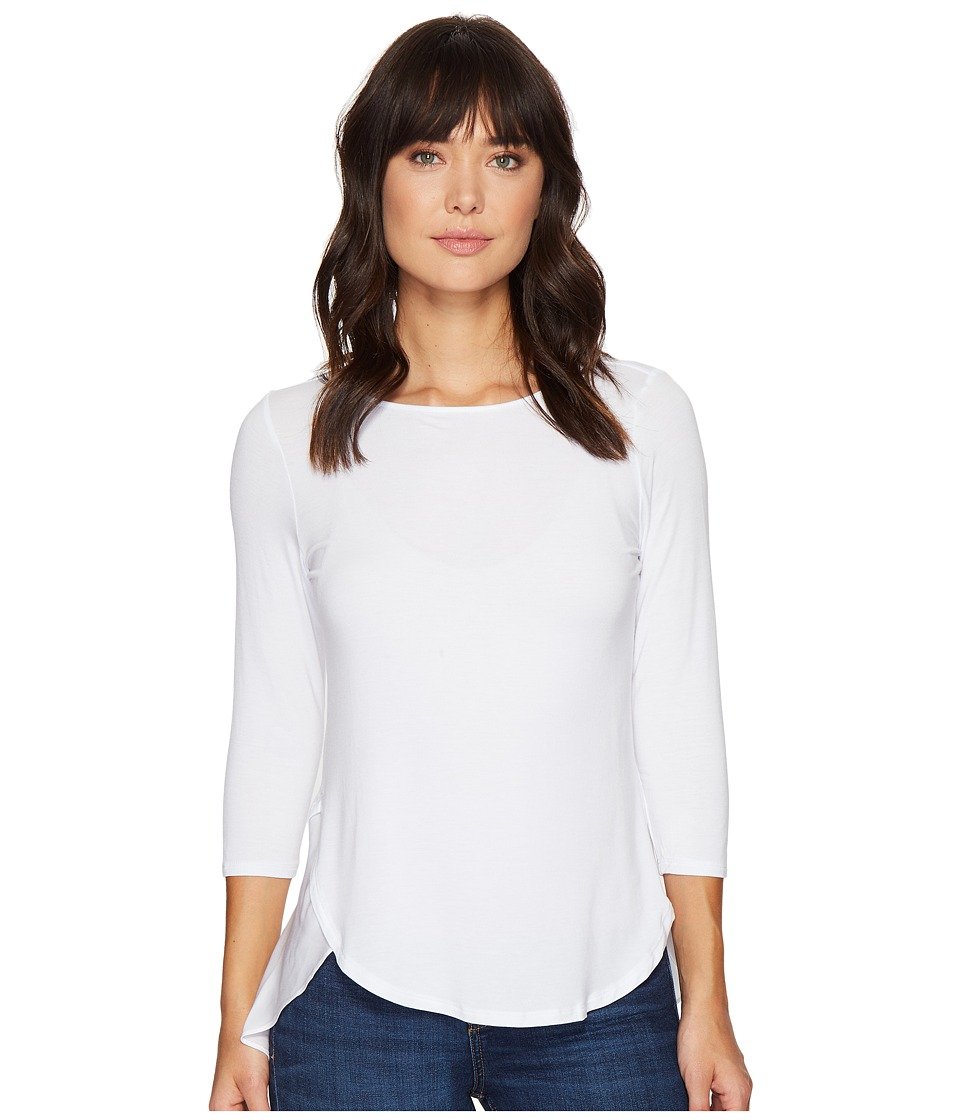 HEATHER - Silk Flutter Hem Top (White) Women's Clothing