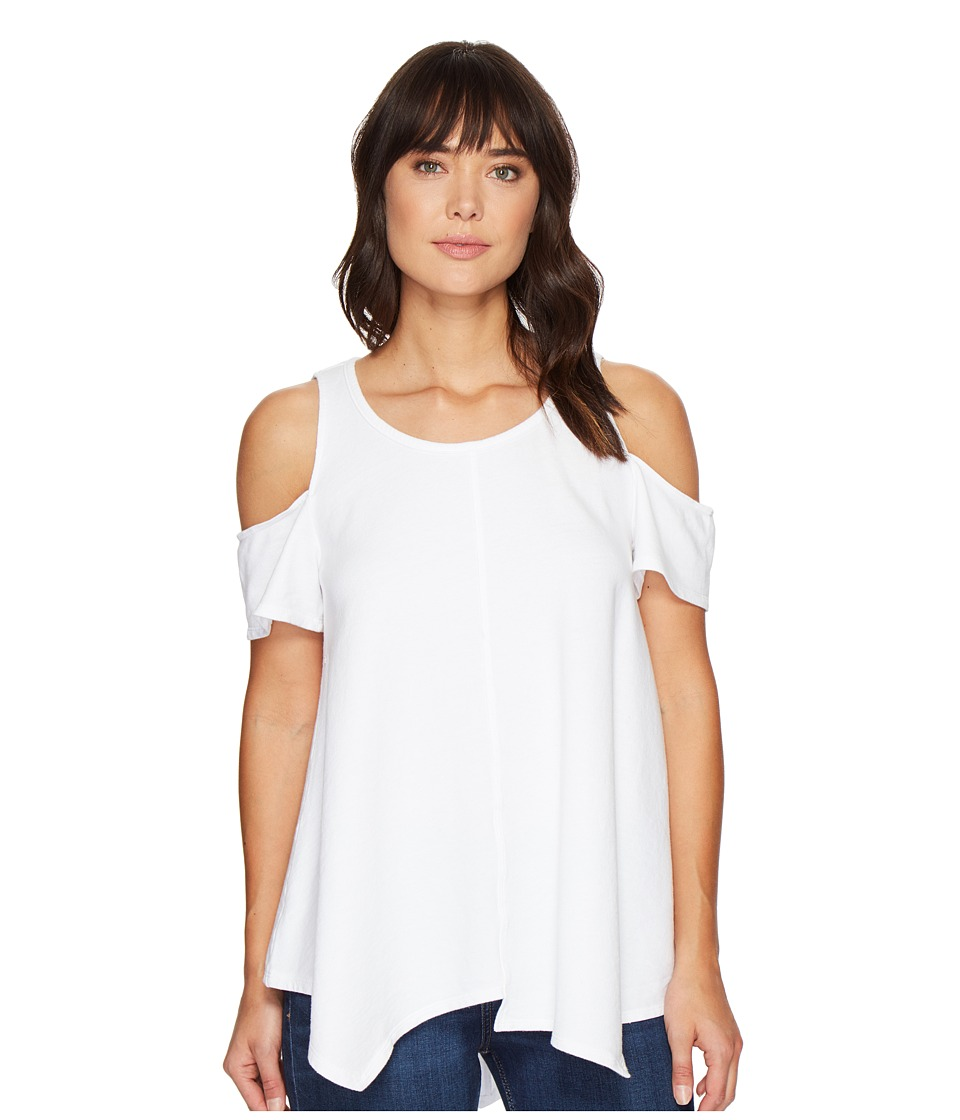 HEATHER - Cotton French Terry Cold Shoulder Swing Top (White) Women's Clothing