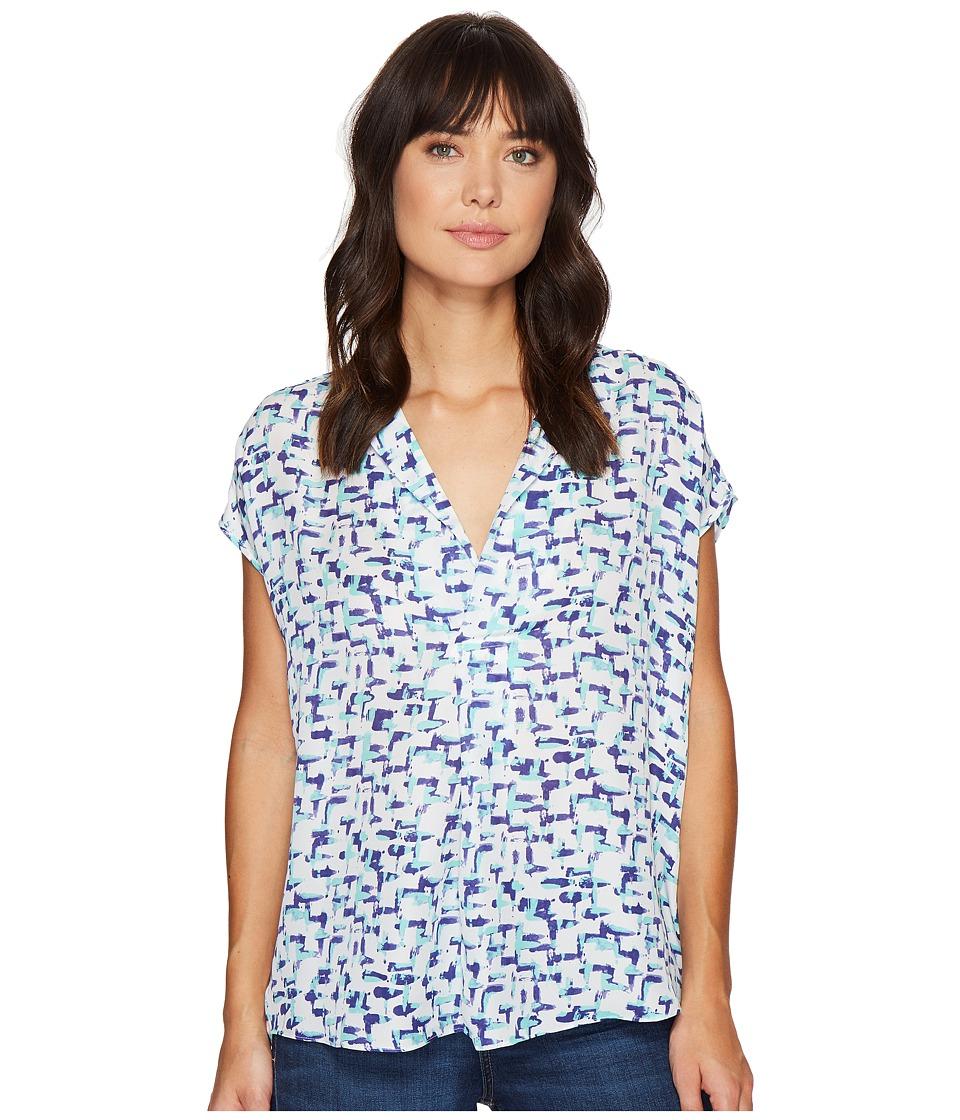 HEATHER - Silk Split-Neck Top (Hatch) Women's Clothing