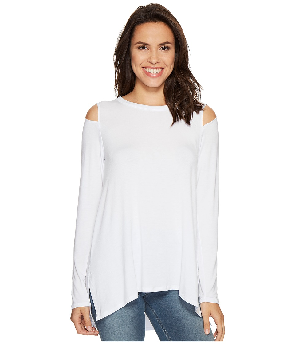 HEATHER - Long Sleeve Slit Shoulder Slouchy Top (White) Women's Clothing