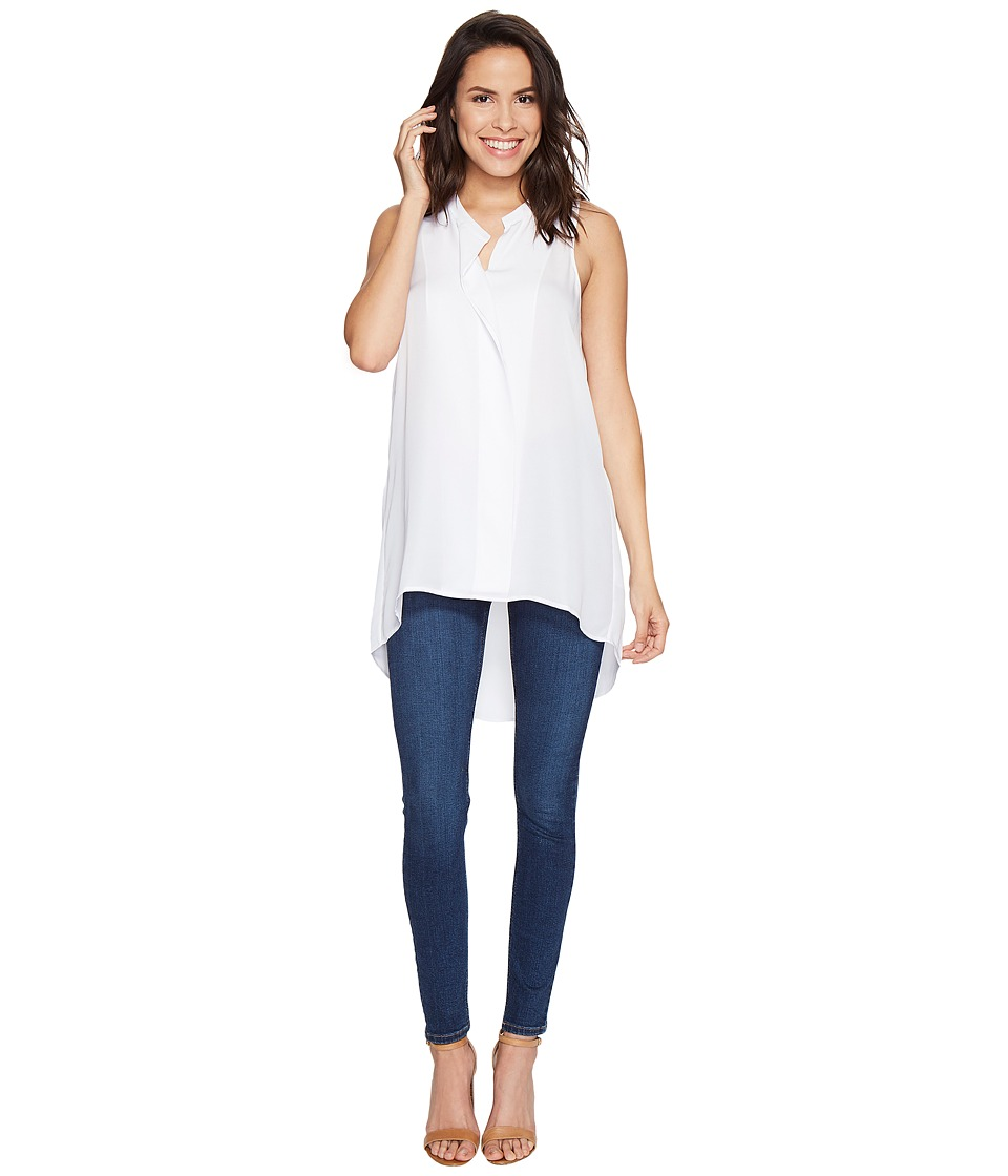 HEATHER - Silk Placket Tank Tunic Top (White) Women's Sleeveless