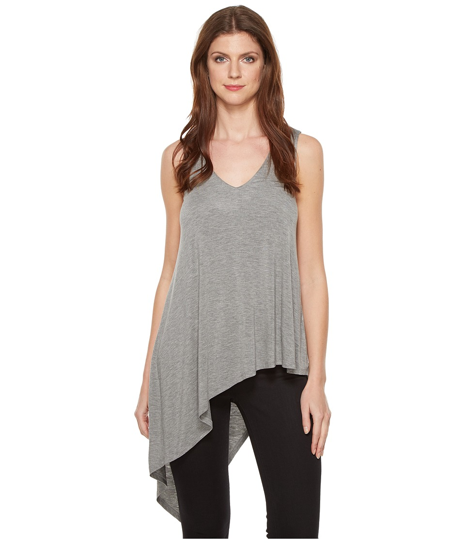 HEATHER - Asymmetrical V-Neck Tank Top (Light Heather Grey) Women's Sleeveless