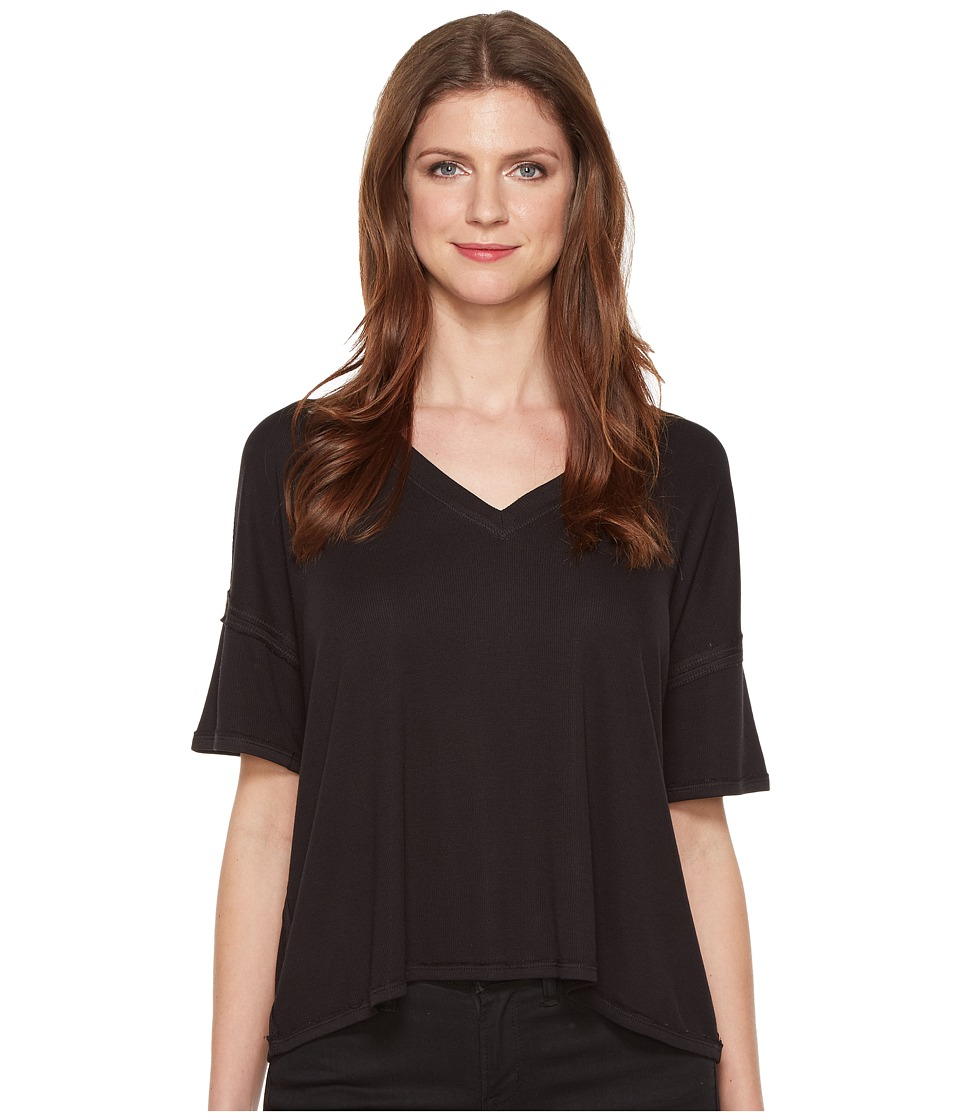 HEATHER - V-Neck Boxy Tee (Black) Women's T Shirt