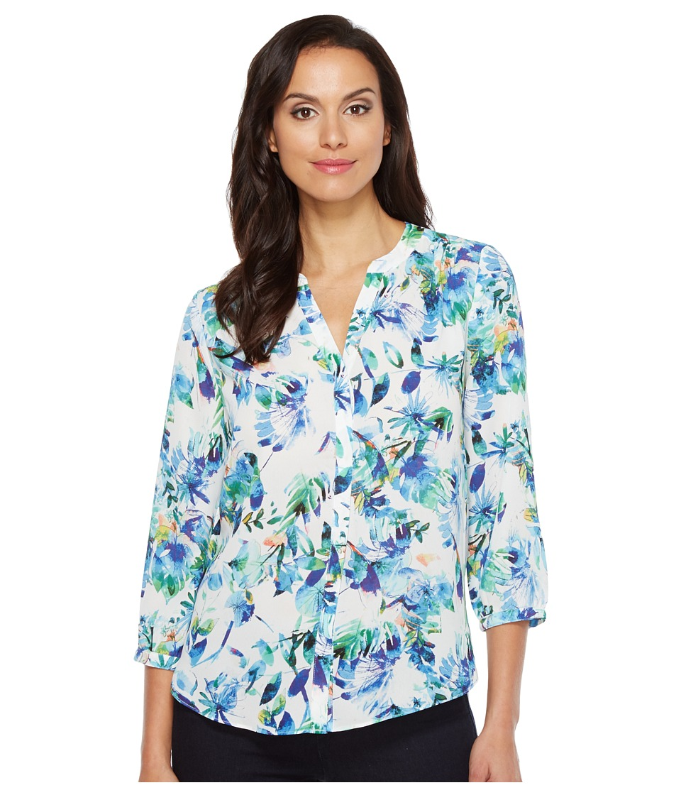 NYDJ - Solid Blouse w/ Pleated Back (St Tropez Jasmine Matisse Blue) Women's Blouse