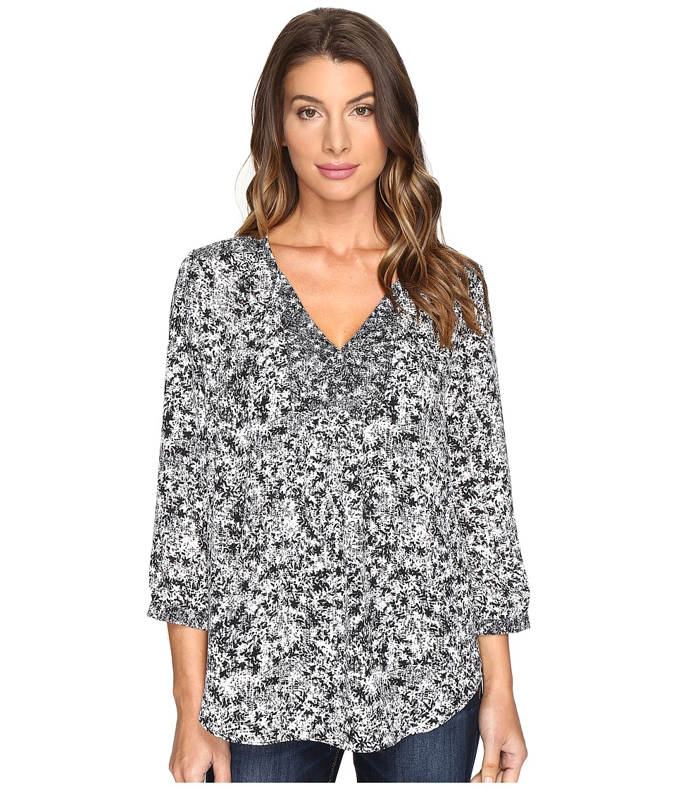 NYDJ - Mixed Print Peasant Blouse (Toudon Forest Black) Women's Blouse