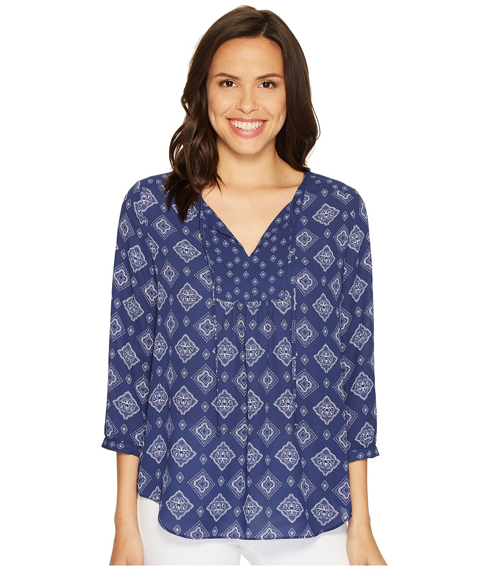 NYDJ - Mixed Print Peasant Blouse (Bandana Blue) Women's Blouse