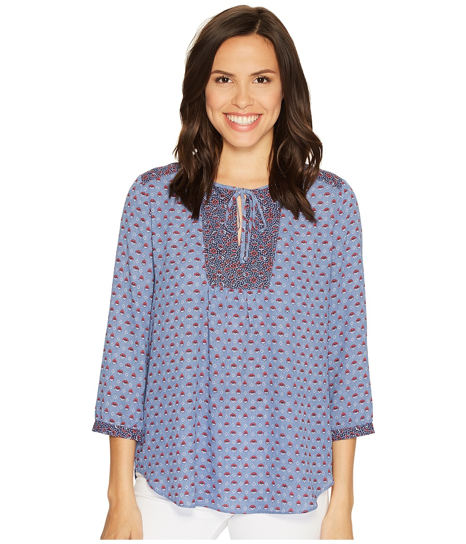 NYDJ - Mixed Print Peasant Blouse (Provence Petals Blue) Women's Blouse