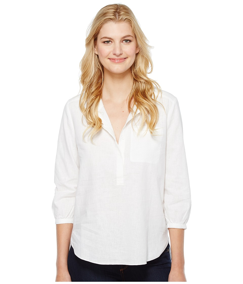 NYDJ - Linen Pleat Back Blouse (Optic White) Women's Blouse