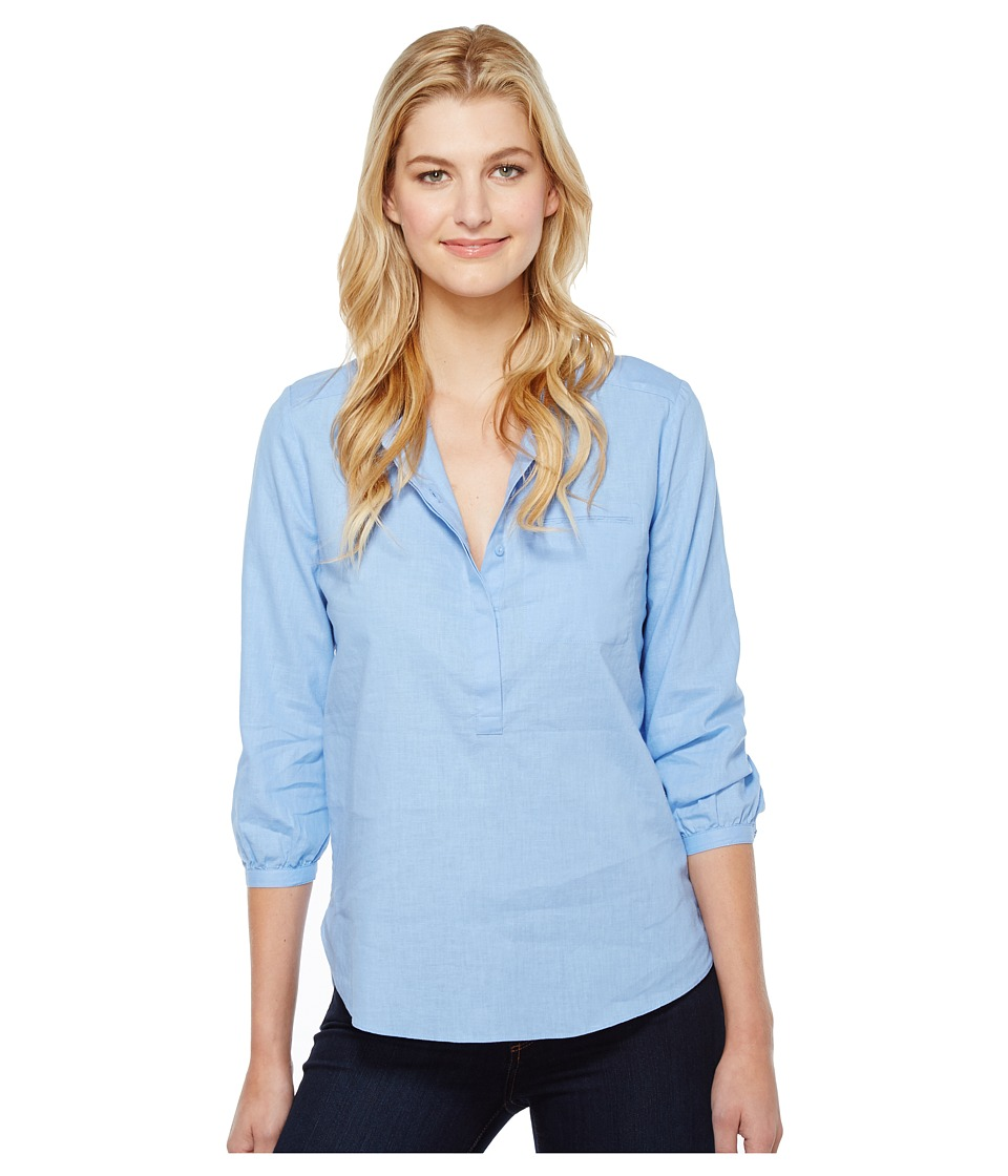 NYDJ - Linen Pleat Back Blouse (Matisse Blue) Women's Blouse