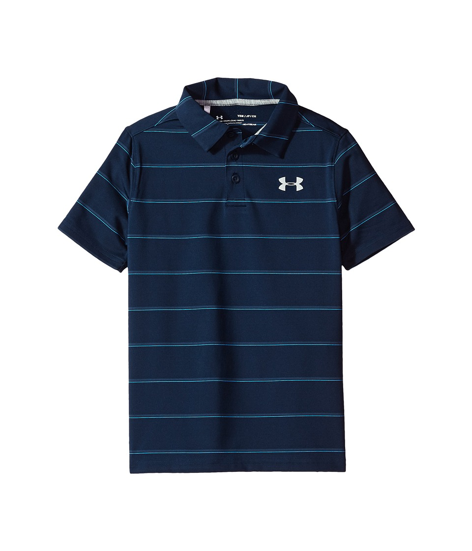 Under Armour Kids - Playoff Stripe Polo (Big Kids) (Academy/True Gray Heather/Overcast Gray) Boy's Clothing