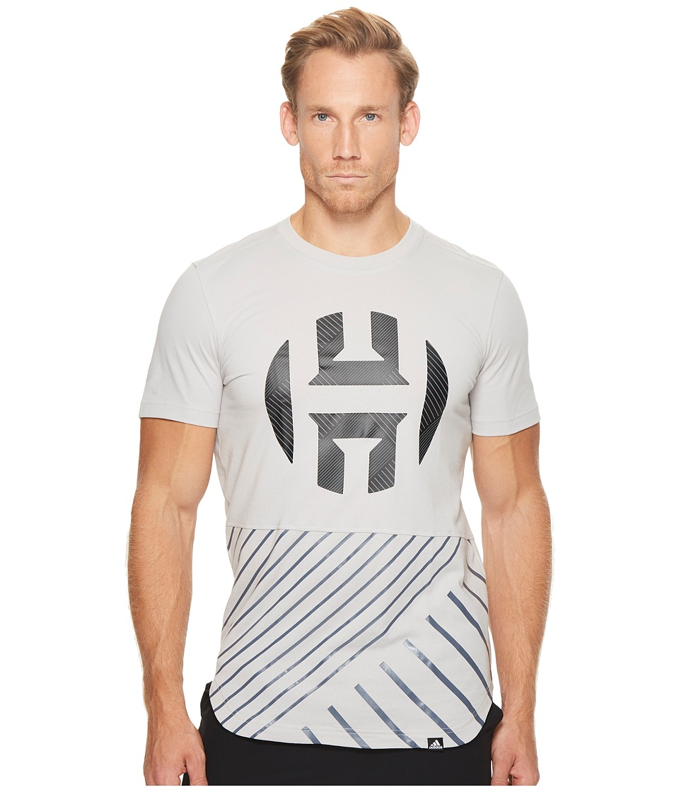 adidas - Harden Logo Scoop Tee (Grey 2/Black) Men's T Shirt