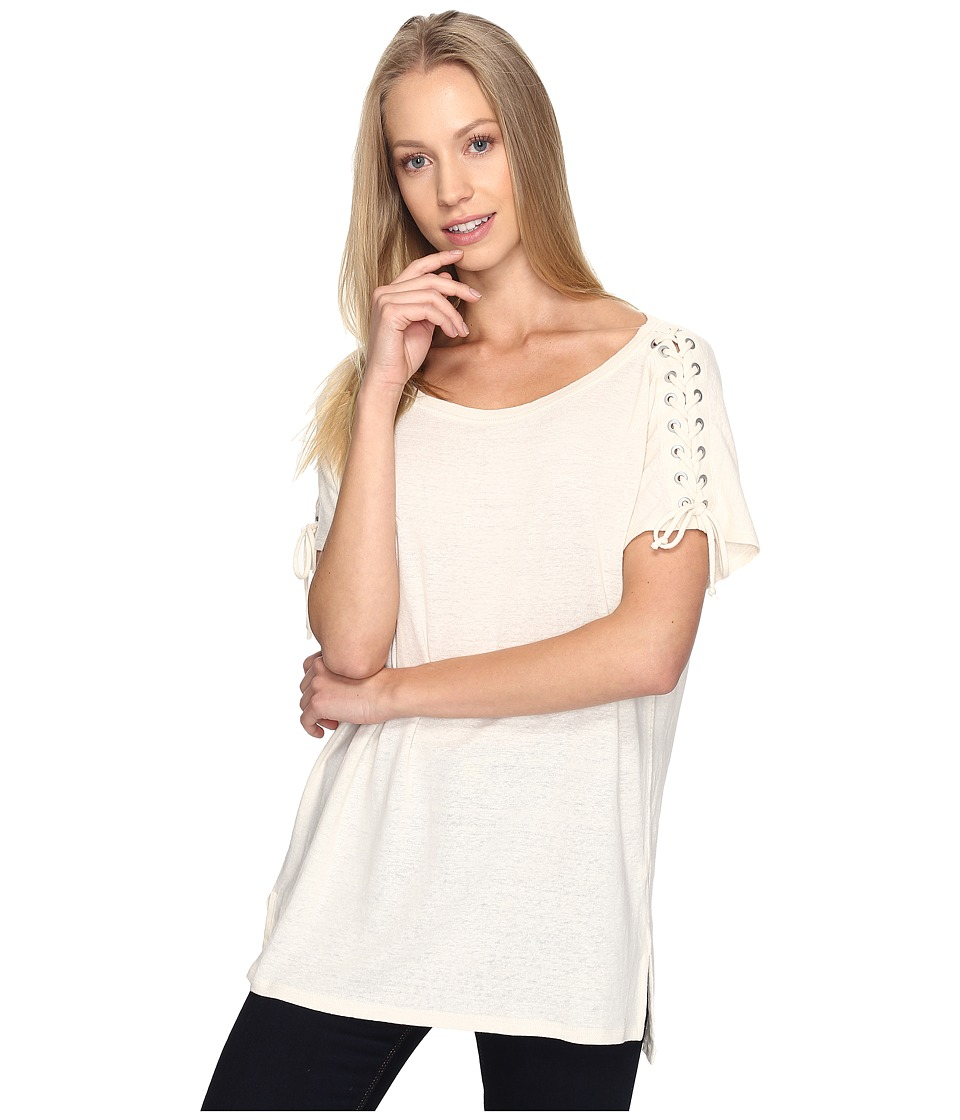 NYDJ - Greenwich Lace-Up Sleeve Tee (Natural) Women's T Shirt
