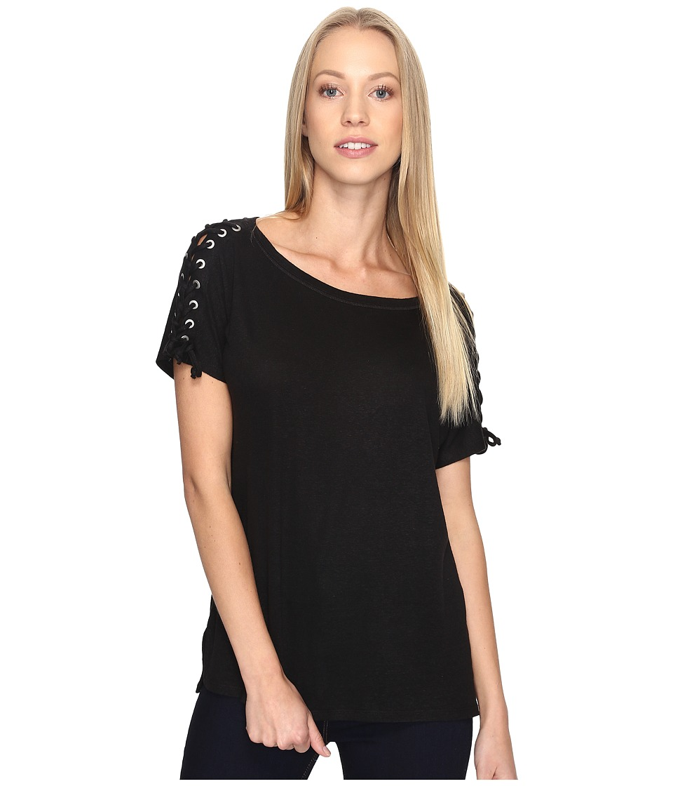 NYDJ - Greenwich Lace-Up Sleeve Tee (Black) Women's T Shirt