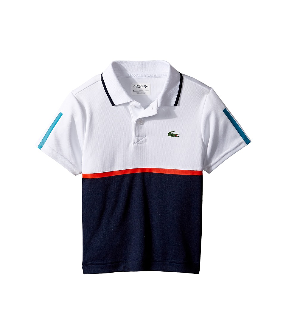 Lacoste Kids - Sport Color Block Ultradry Polo (Little Kids/Big Kids) (White/Navy Blue/Etna Red/Oceanie) Boy's Clothing
