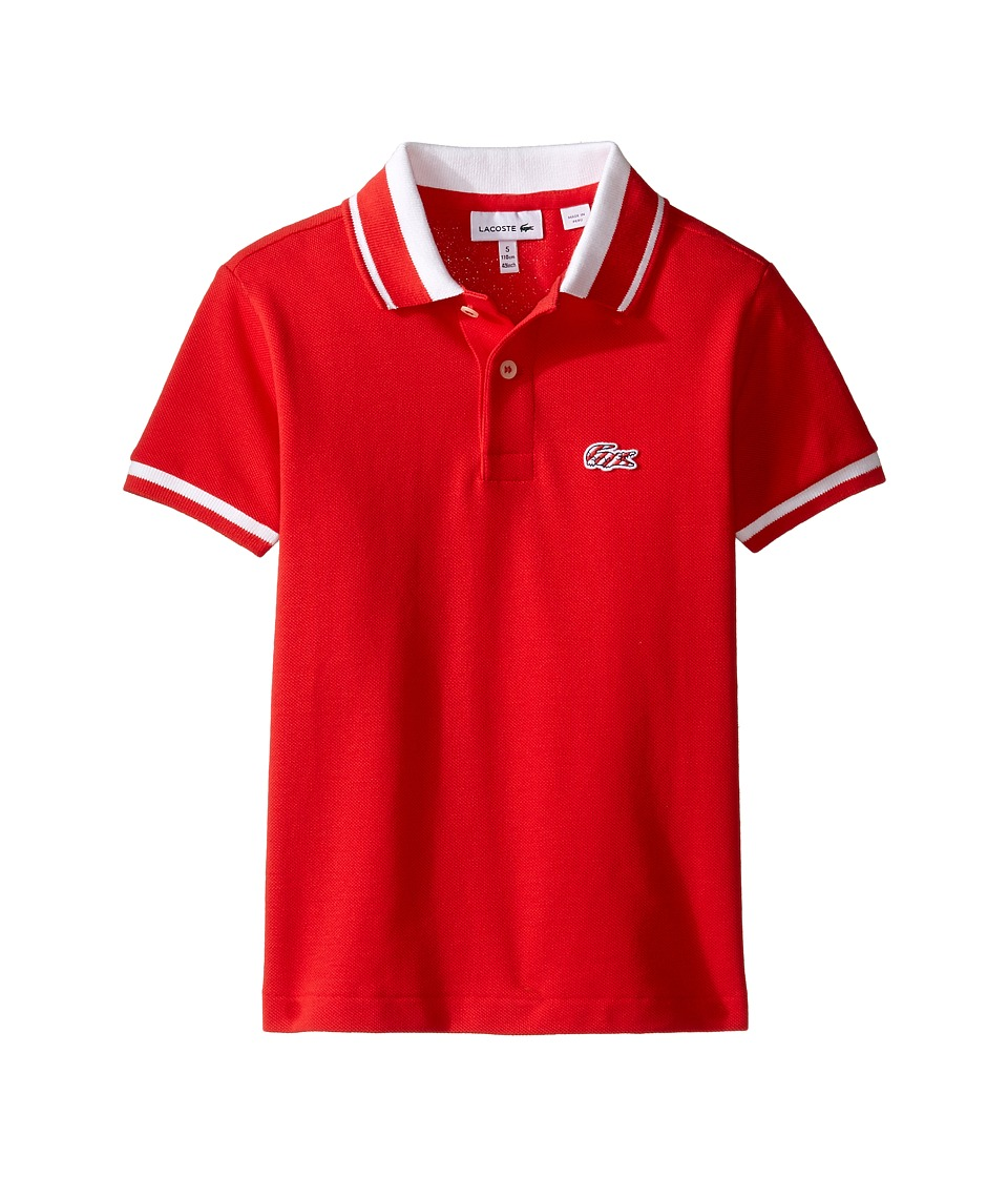 Lacoste Kids - Short Sleeve Candy Stripe Croc Polo (Infant/Toddler/Little Kids/Big Kids) (Grenadine/White) Boy's Short Sleeve Pullover