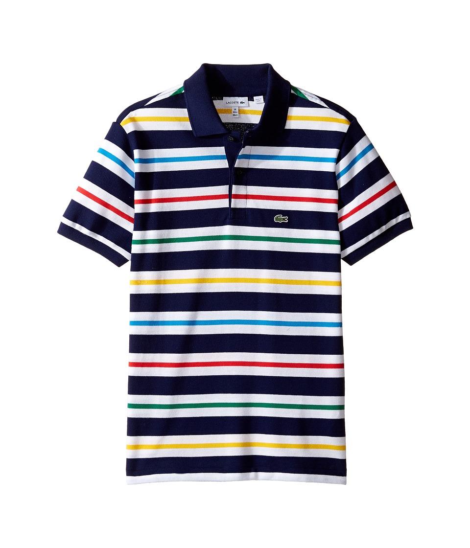 Lacoste Kids - Short Sleeve Multicolor Stripe Polo (Infant/Toddler/Little Kids/Big Kids) (Penumbra/Multico) Boy's Short Sleeve Pullover