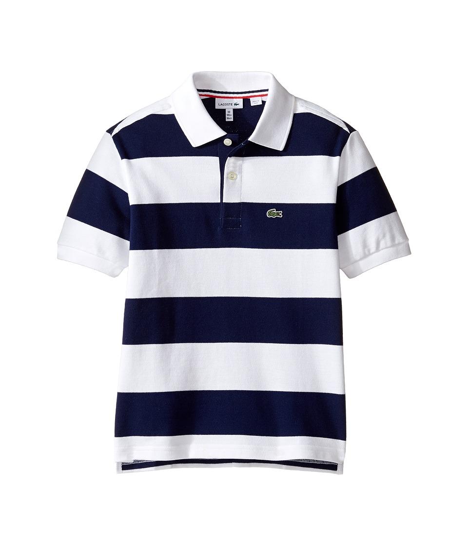 Lacoste Kids - Short Sleeve Bar Stripe Polo (Infant/Toddler/Little Kids/Big Kids) (White/Penumbra) Boy's Short Sleeve Pullover