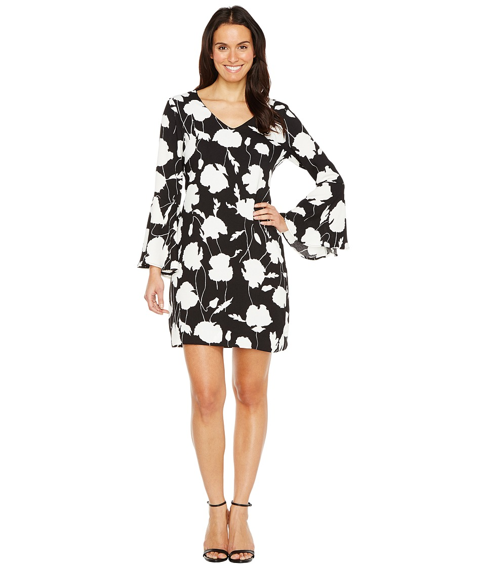 Karen Kane - V-Neck Bell Sleeve Dress (Black/Off-White) Women's Dress