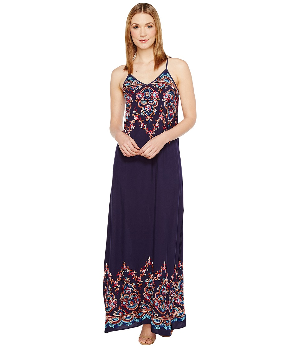 Karen Kane Embroidered Maxi Dress (Navy) Women