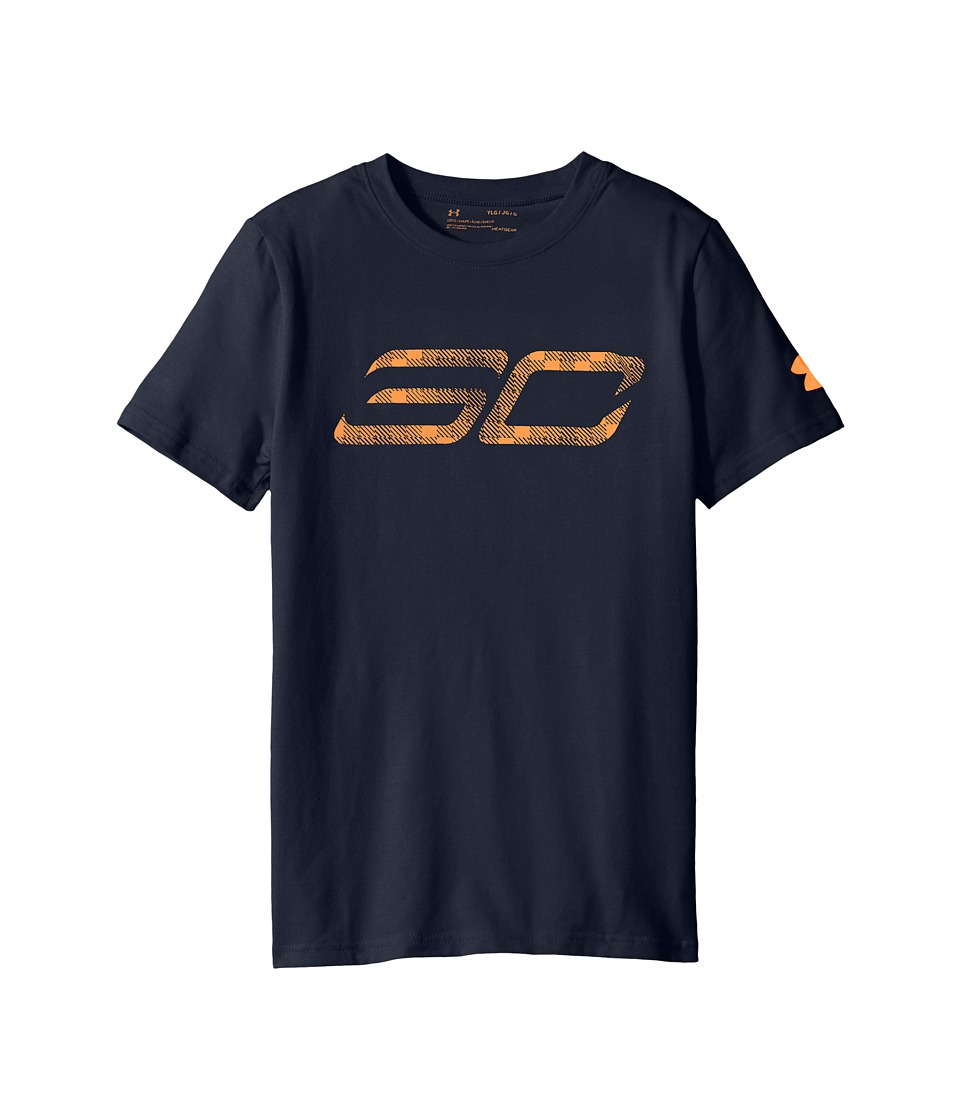 Under Armour Kids - Steph Curry 30 Logo Short Sleeve Tee (Big Kids) (Midnight Navy/Magma Orange/Magma Orange) Boy's T Shirt