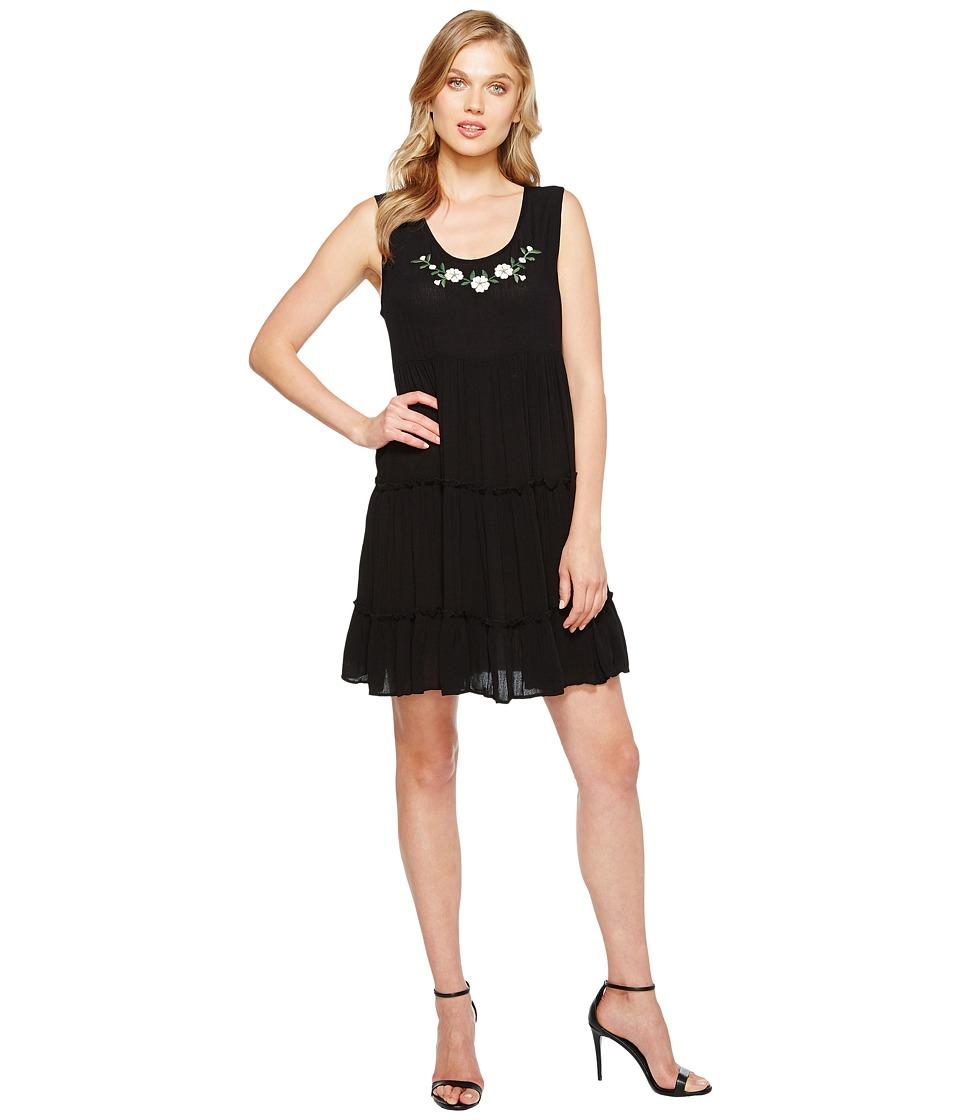 Karen Kane - Tiered Embroidery Dress (Black) Women's Dress